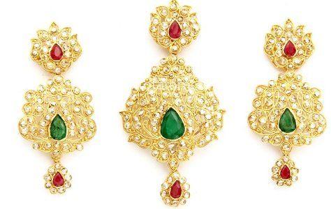 22K  Gold Uncut Diamond Pendant-Earring Sets