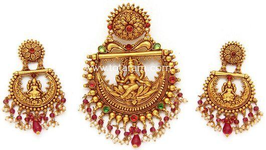 22K Gold Temple Jewellery Pendant-Earring Sets