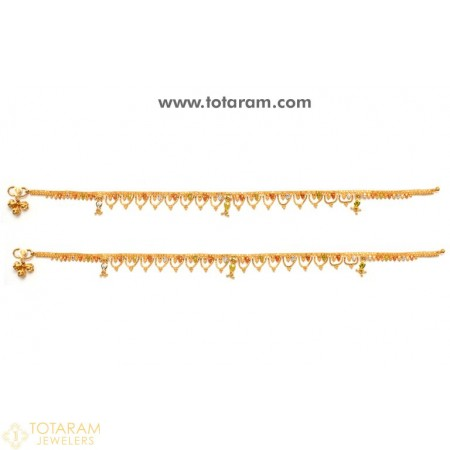 22 Karat Gold Anklets - Leg Chains - Payal - Pattilu - 1 Pair - 235-ANK002 - Buy this Latest Indian Gold Jewelry Design in 26.000 Grams for a low price of  $2,189.99