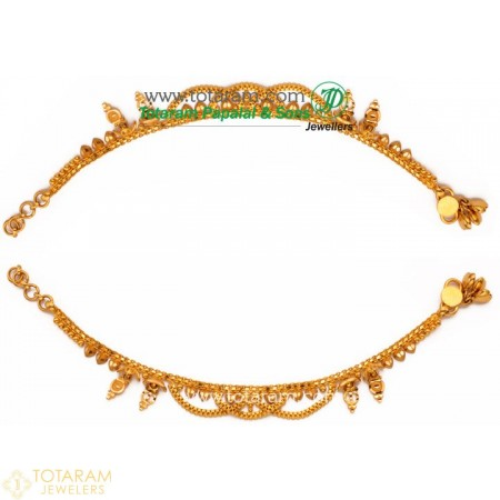 22K Gold Baby Anklets - Leg Chains - Payal - Pattilu- 1 Pair. - 235-ANK007 - Buy this Latest Indian Gold Jewelry Design in 15.300 Grams for a low price of  $1,319.89