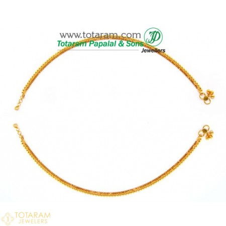 22K Gold Anklets  - Leg Chains - Payal - Pattilu- 1 Pair - 235-ANK008 - Buy this Latest Indian Gold Jewelry Design in 20.750 Grams for a low price of  $1,804.49