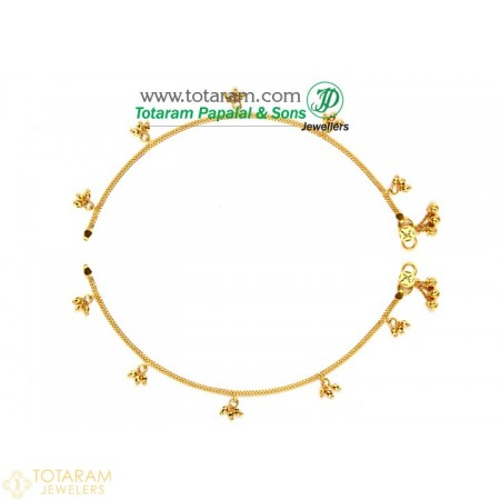 22K Gold BABY Anklets  - Leg Chains - Payal - Pattilu- 1 Pair - 235-ANK011 - Buy this Latest Indian Gold Jewelry Design in 13.500 Grams for a low price of  $1,195.50