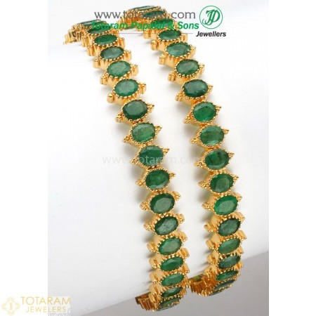 22K Gold Emerald Bangles - Set of 2 (1 Pair) - 235-GBL342 - Buy this Latest Indian Gold Jewelry Design in 50.000 Grams for a low price of  $5,889.99