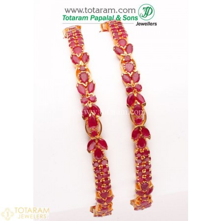 22K Gold Ruby Bangle - Set of 2 (1 Pair) - 235-GBL422 - Buy this Latest Indian Gold Jewelry Design in 42.650 Grams for a low price of  $4,019.54