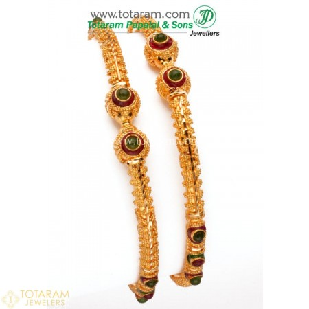 22K Gold Bangle - Set of 2 (1 Pair) - 235-GBL437 - Buy this Latest Indian Gold Jewelry Design in 28.000 Grams for a low price of  $2,354.99