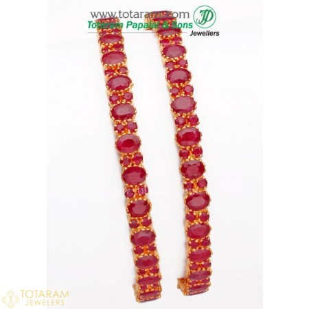22K Gold Ruby Bangles - Set of 2 (1 Pair) - 235-GBL494 - Buy this Latest Indian Gold Jewelry Design in 43.700 Grams for a low price of  $4,343.59