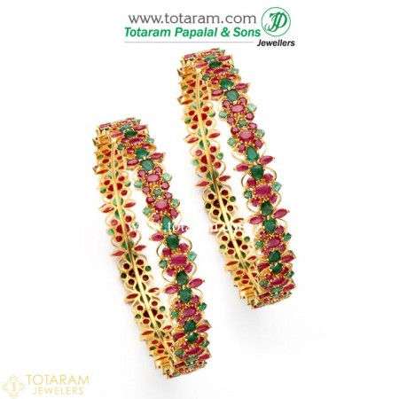 22K Gold Ruby & Emerald Bangles - Set of 2 (1 Pair) - 235-GBL600 - Buy this Latest Indian Gold Jewelry Design in 47.500 Grams for a low price of  $4,706.90