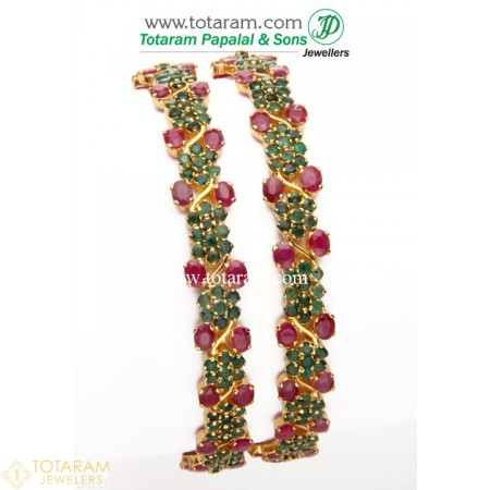 22K Gold Ruby & Emerald Bangles - Set of 2 (1 Pair) - 235-GBL607 - Buy this Latest Indian Gold Jewelry Design in 42.700 Grams for a low price of  $4,027.69
