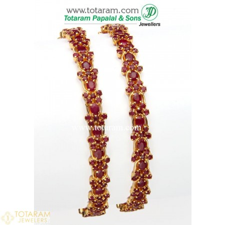 22K Gold Ruby Bangles - Set of 2 (1 Pair) - 235-GBL608 - Buy this Latest Indian Gold Jewelry Design in 40.150 Grams for a low price of  $3,924.94