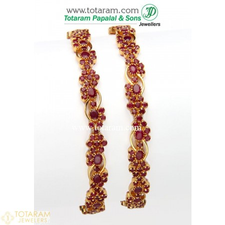 22K Gold Ruby Bangles - Set of 2 (1 Pair) - 235-GBL609 - Buy this Latest Indian Gold Jewelry Design in 44.500 Grams for a low price of  $4,214.50