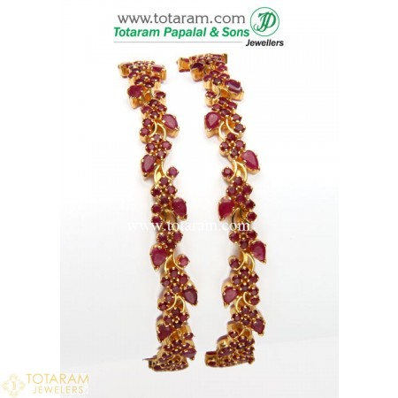 22K Gold Ruby Bangles - Set of 2 (1 Pair) - 235-GBL611 - Buy this Latest Indian Gold Jewelry Design in 37.350 Grams for a low price of  $3,666.54