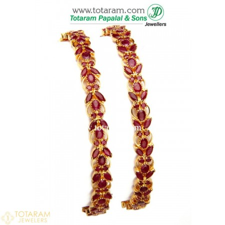 22K Gold Ruby Bangles - Set of 2 (1 Pair) - 235-GBL620 - Buy this Latest Indian Gold Jewelry Design in 47.900 Grams for a low price of  $4,626.09
