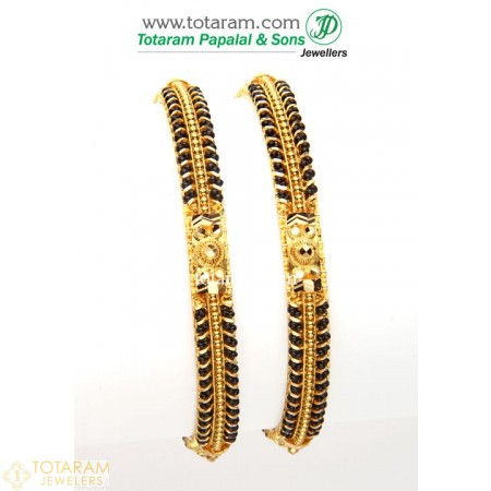 Gold Bangles in 22K - Set of 2 (1 Pair) with Black Beads - 235-GBL745 - Buy this Latest Indian Gold Jewelry Design in 39.050 Grams for a low price of  $3,286.15