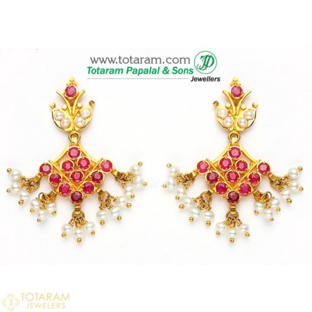Gold Earrings for Women in 22K Gold With Ruby & Pearls - 235-GER332 - Buy this Latest Indian Gold Jewelry Design in 7.350 Grams for a low price of  $746.90