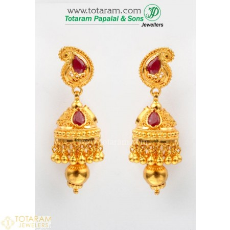 22K Gold Jhumkas - Gold Dangle Earrings with Ruby - 235-GJH268 - Buy this Latest Indian Gold Jewelry Design in 12.500 Grams for a low price of  $1,158.10