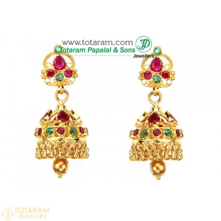 22K Gold Jhumkas - Gold Dangle Earrings with Rubies & Emeralds - 235-GJH627 - Buy this Latest Indian Gold Jewelry Design in 14.150 Grams for a low price of  $1,384.89