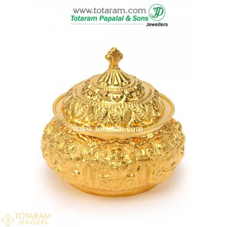 22K Gold Asta Lakshmi Kumkum Box - 235-GKK115 - Buy this Latest Indian Gold Jewelry Design in 30.650 Grams for a low price of  $2,619.29