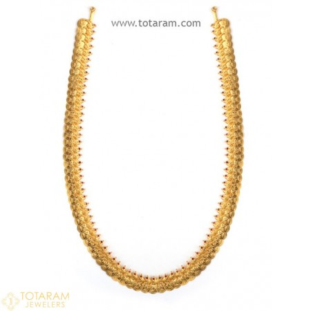 22K Gold Lakshmi Kasu Mala / Kasulaperu with Red Stones - 235-GN103 - Buy this Latest Indian Gold Jewelry Design in 61.000 Grams for a low price of  $5,125.99