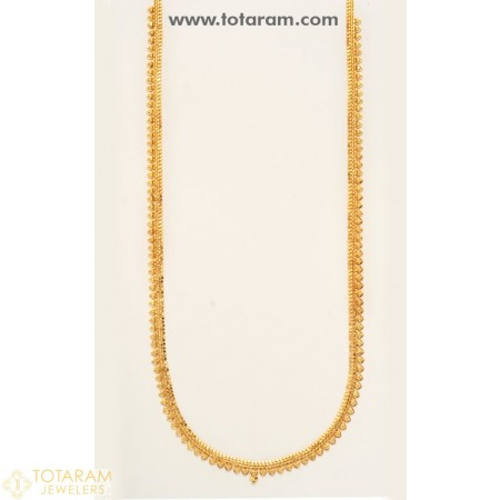 22K Gold Long Necklace - 235-GN118 - Buy this Latest Indian Gold Jewelry Design in 24.500 Grams for a low price of  $2,074.49