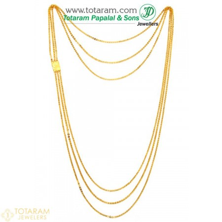 22K Gold 3-Lines Chain - Chandraharam - 235-GN424 - Buy this Latest Indian Gold Jewelry Design in 18.650 Grams for a low price of  $1,616.25