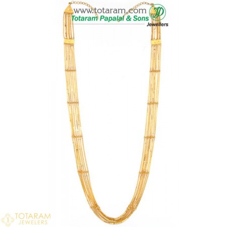 22K Gold 7-Lines Chain - Chandraharam - 235-GN428 - Buy this Latest Indian Gold Jewelry Design in 45.650 Grams for a low price of  $3,840.95