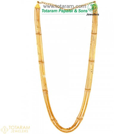 22K Gold 5-Lines Chain - Chandraharam - 235-GN429 - Buy this Latest Indian Gold Jewelry Design in 31.000 Grams for a low price of  $2,620.99