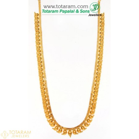 22K Gold Mango Mala - 235-GN444 - Buy this Latest Indian Gold Jewelry Design in 44.800 Grams for a low price of  $3,770.40