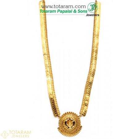 22K Gold Lakshmi Kasu Mala / Kasulaperu - 235-GN467 - Buy this Latest Indian Gold Jewelry Design in 57.800 Grams for a low price of  $4,989.39