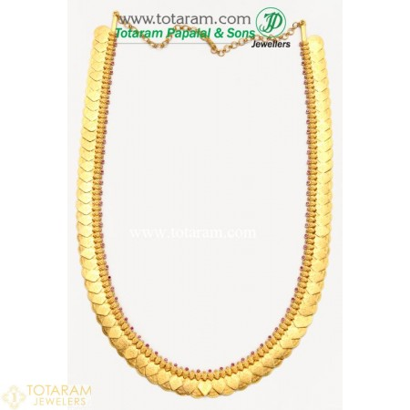 22K Gold Lakshmi Kasu Mala / Kasulaperu with Red Stones - 235-GN471 - Buy this Latest Indian Gold Jewelry Design in 81.000 Grams for a low price of  $6,783.99