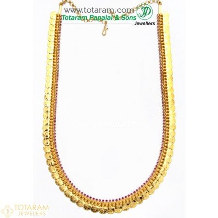 22K Gold Mango Lakshmi Kasu Mala / Kasulaperu with Red Stones - 235-GN472 - Buy this Latest Indian Gold Jewelry Design in 63.550 Grams for a low price of  $5,473.89