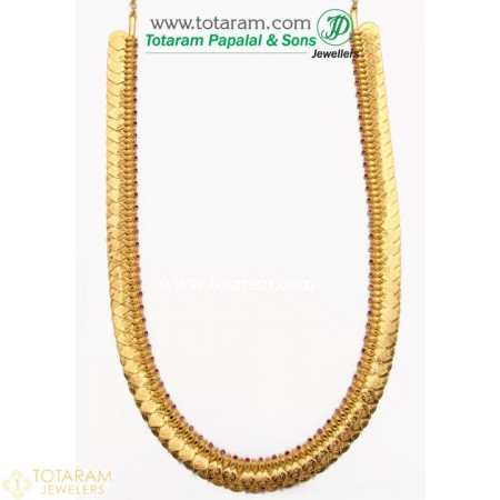 22K Gold Lakshmi Kasu Mala / Kasulaperu with Red Stones - 235-GN489 - Buy this Latest Indian Gold Jewelry Design in 86.200 Grams for a low price of  $7,220.59