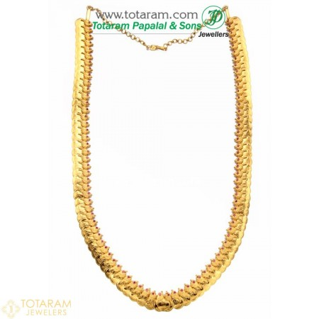 22K Gold Parrot Lakshmi Kasu Mala / Kasulaperu with Stones - 235-GN509 - Buy this Latest Indian Gold Jewelry Design in 60.450 Grams for a low price of  $5,067.35