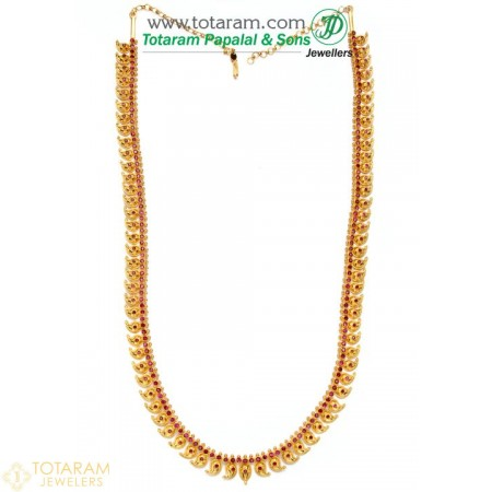 22K Gold Mango Mala with Stones - 235-GN510 - Buy this Latest Indian Gold Jewelry Design in 62.650 Grams for a low price of  $5,239.44