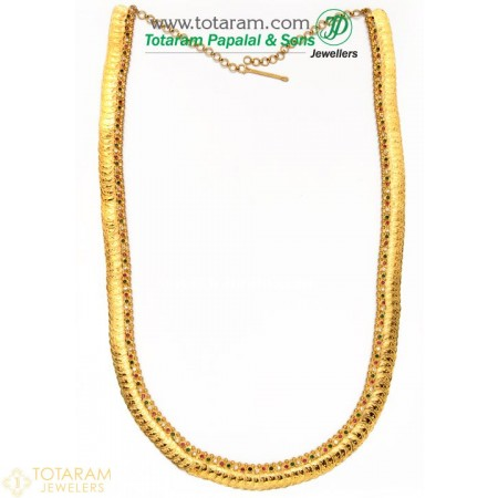 22K Gold Lakshmi Kasu Mala / Kasulaperu with Color Stones - 235-GN511 - Buy this Latest Indian Gold Jewelry Design in 61.250 Grams for a low price of  $5,133.75