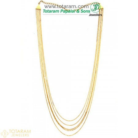 22K Gold 5-Lines Chain - Chandanhaar / Chandanaharam - 235-GN696 - Buy this Latest Indian Gold Jewelry Design in 27.900 Grams for a low price of  $2,344.70
