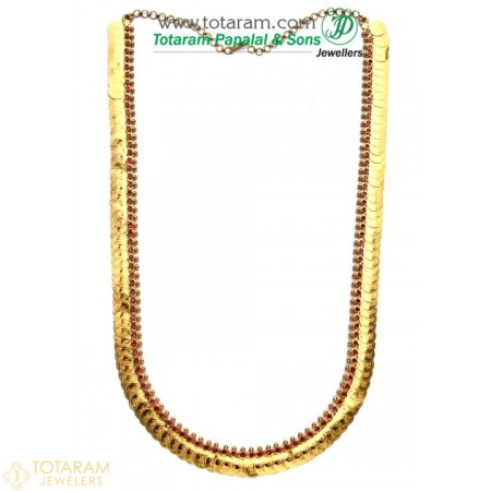 22 Karat Gold Lakshmi Kasu Mala / Kasulaperu with Red Stones - 235-GN701 - Buy this Latest Indian Gold Jewelry Design in 62.000 Grams for a low price of  $5,199.99
