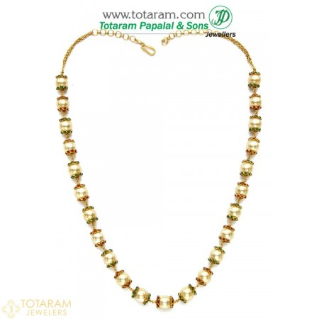 22K Gold Necklace with South Sea Pearls.(Temple jewellery) - 235-GN725 - Buy this Latest Indian Gold Jewelry Design in 53.450 Grams for a low price of  $3,461.99