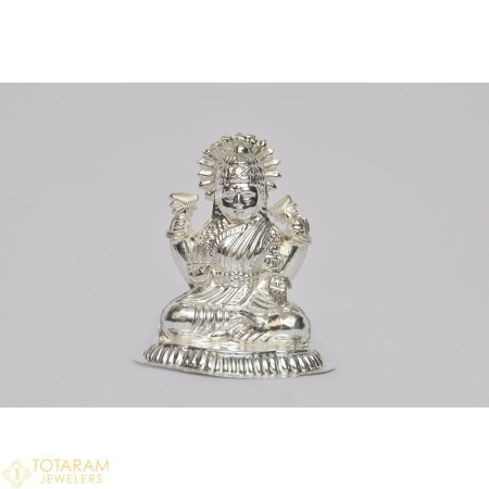 Silver Lakshmi Murti Idol Statue (Hollow) - 1-S39 - Buy this Latest Indian Gold Jewelry Design in 36.200 Grams for a low price of $151.62