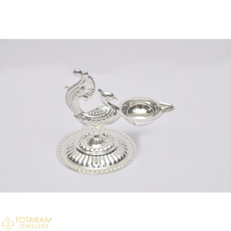 Silver Peacock Diya for Pooja - 1-S20 - Buy this Latest Indian Gold Jewelry Design in 45.600 Grams for a low price of  $192.43