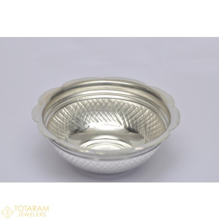 Silver Prasadam Katori - Bowl with carvings for Pooja (Small) - 1-S19 - Buy this Latest Indian Gold Jewelry Design in 13.500 Grams for a low price of  $60.52
