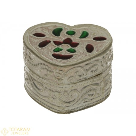 Silver Kumkum Box with Enamel Paint - Small Size - 1-S5 - Buy this Latest Indian Gold Jewelry Design in 6.100 Grams for a low price of  $27.01