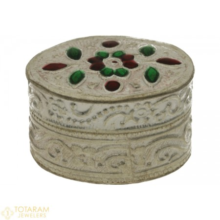 Silver Kumkum Box with Enamel Paint in Oval Shape - Small Size - 1-S6 - Buy this Latest Indian Gold Jewelry Design in 6.300 Grams for a low price of  $26.92