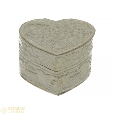 Silver Kumkum Box Heart Shape - Small Size - 1-S7 - Buy this Latest Indian Gold Jewelry Design in 5.500 Grams for a low price of  $26.32