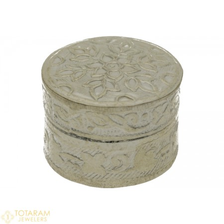 Silver Kumkum Box Round Shape - Small Size - 1-S9 - Buy this Latest Indian Gold Jewelry Design in 5.700 Grams for a low price of  $26.55