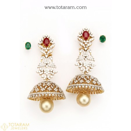 18K Gold Diamond Jhumkas - Diamond Dangle Earrings with Color Stones & South Sea Pearls - 235-DER1137 - Buy this Latest Indian Gold Jewelry Design in 46.100 Grams for a low price of  $7,254.99