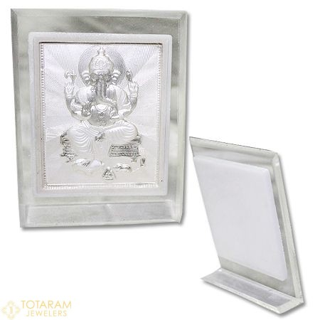 Silver Ganeshji Self Stand Large Photo Frame For Car or Office Table - 1-S24 - Buy this Latest Indian Gold Jewelry Design in Grams for a low price of $19.99