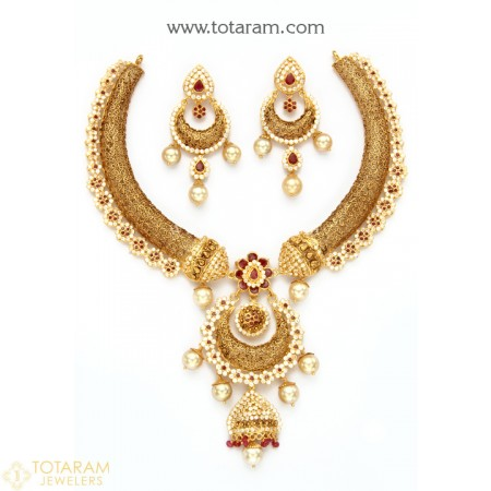 22K Gold Necklace & Chand Bali Earrings Set With Ruby , Emeralds , Cz , Beads & South Sea Pearls - 235-GS3120 - Buy this Latest Indian Gold Jewelry Design in 79.300 Grams for a low price of  $6,271.26