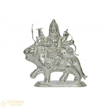Silver Durga Ma Murti Idol Statue (Hollow) - 1-S42 - Buy this Latest Indian Gold Jewelry Design in 30.200 Grams for a low price of $124.72
