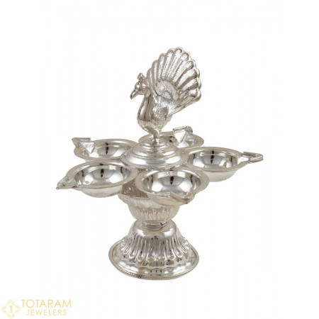 Silver Peacock Panchmukhi Diya - Star Deepak Lamp for Pooja - 1-S45 - Buy this Latest Indian Gold Jewelry Design in 62.700 Grams for a low price of  $262.10