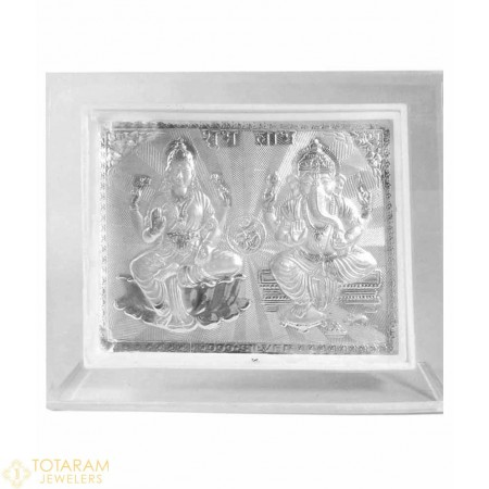 Silver Lakshmi - Ganeshji Self Stand Small Photo Frame For Car or Office Table - 1-S22 - Buy this Latest Indian Gold Jewelry Design in Grams for a low price of $12.99